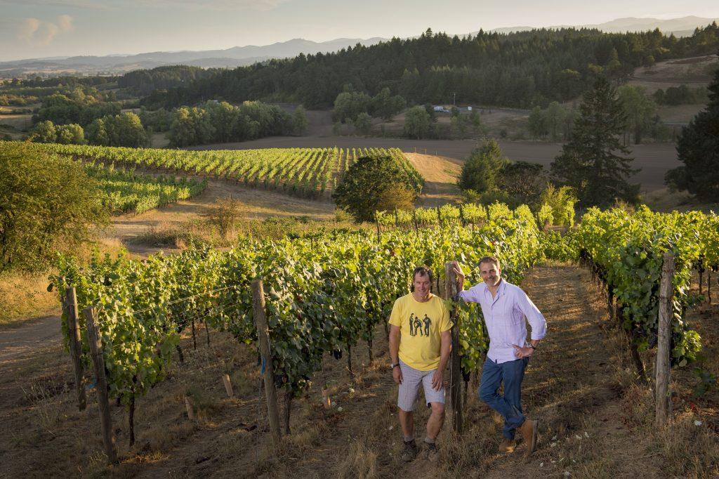 Jay Boberg, left, and Jean-Nicolas Méo at their Bishop Creek Vineyard. (Photo courtesy of Nicolas-Jay)
